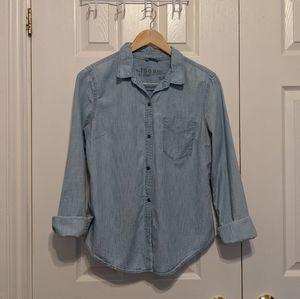 Cotton chambray button down shirt
